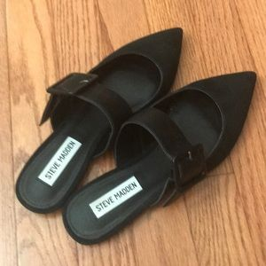Never Worn Steve Madden Black Suede Buckle Mules